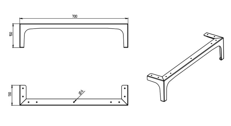 Мебельная опора МП-31, чертеж